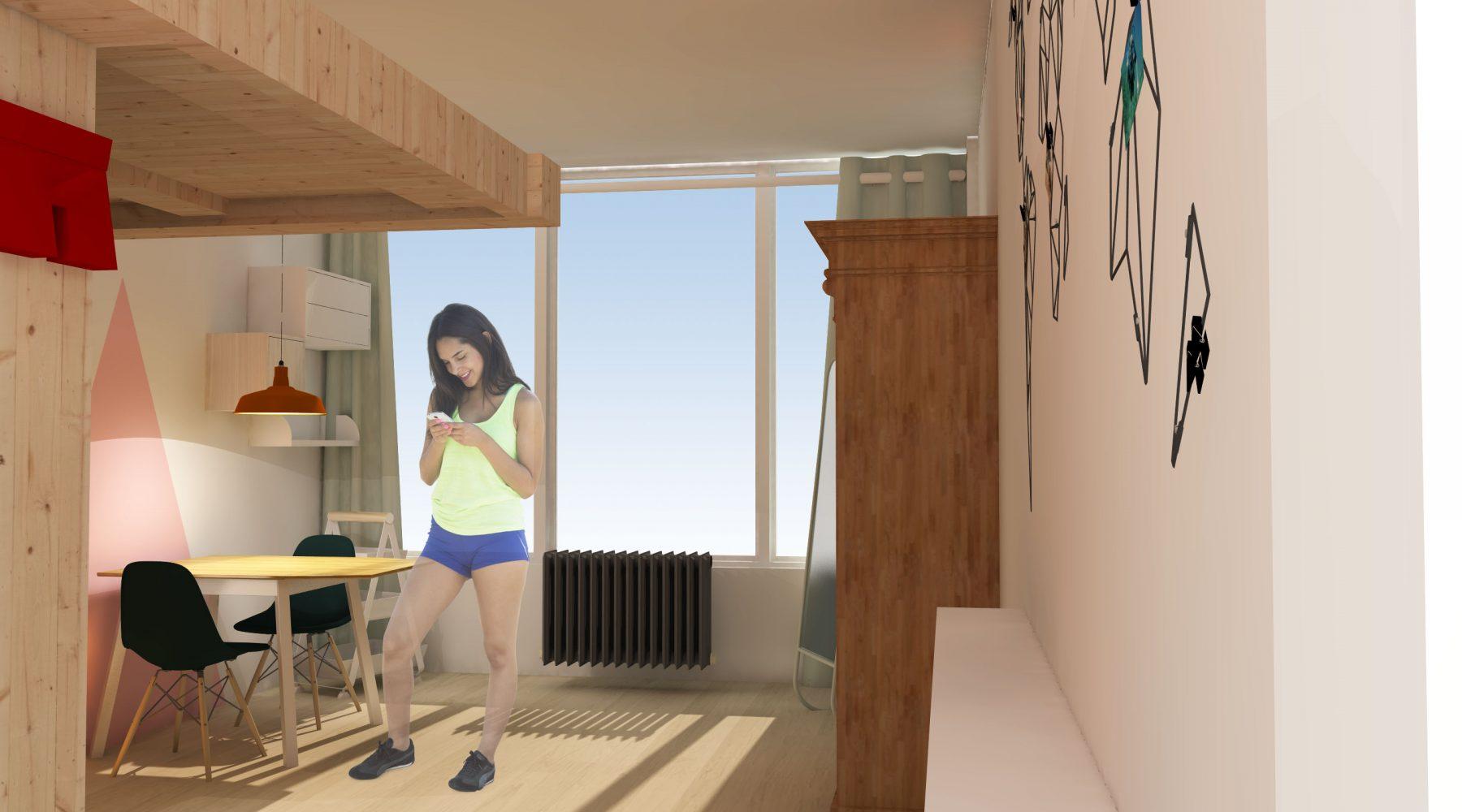Kamer vanuit deur (mogelijke indeling)